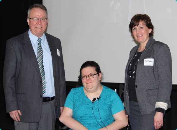 Colin Garwood, President/CEO of Starbridge; Emily Ladau, featured speaker; Seneca Hollenbeck, Communications Coordinator
