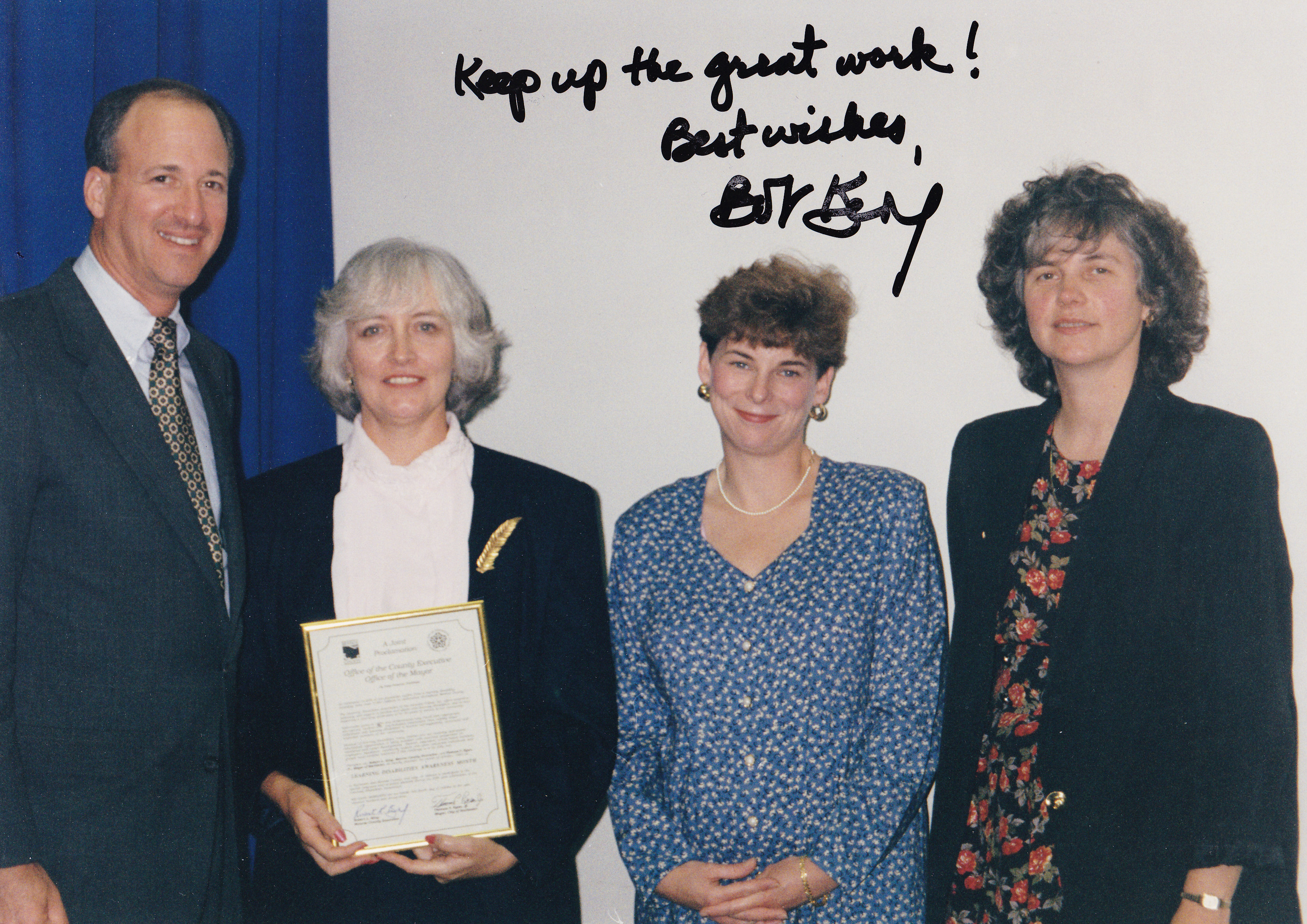 Former Monroe County Executive Bob King, Shirley Jung, and LDA members celebrate Learning Disabilities Association Month in the early 1990s