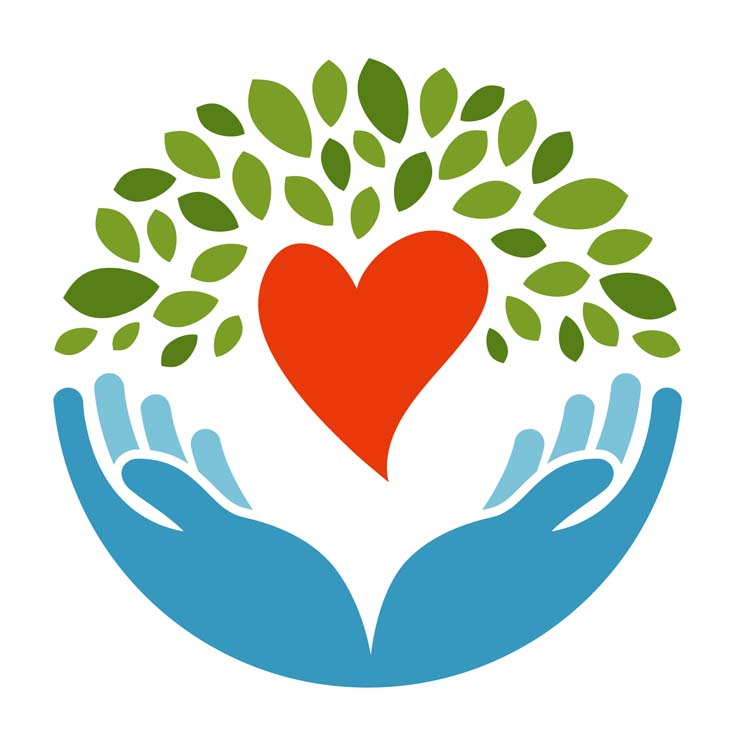 Drawing showing two hands supporting a heart and green leaves symbolizing growth sprouting from the hands and heart
