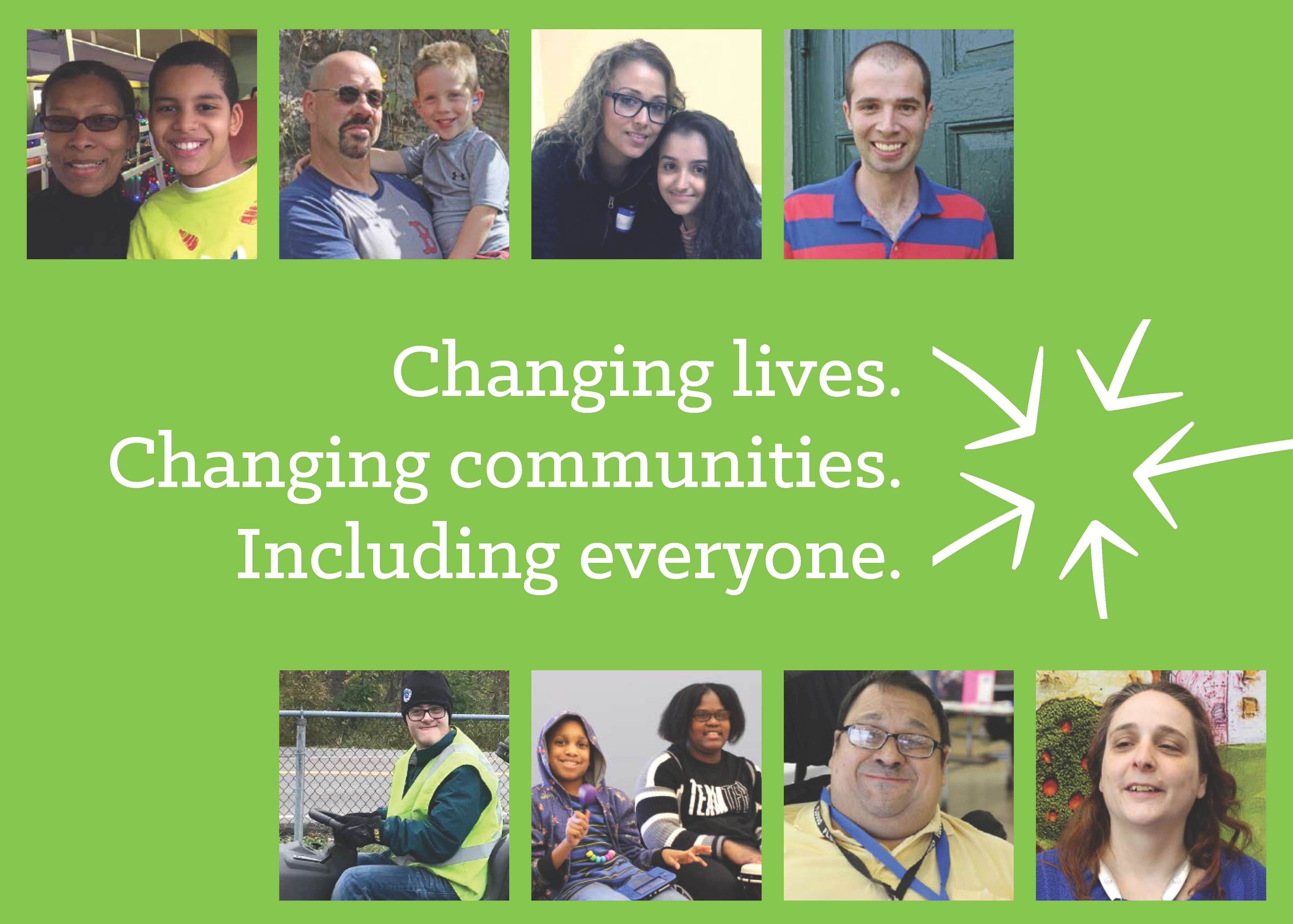 Photo collage of people singly or together around the words Changing Lives Changing Communities Including Everyone