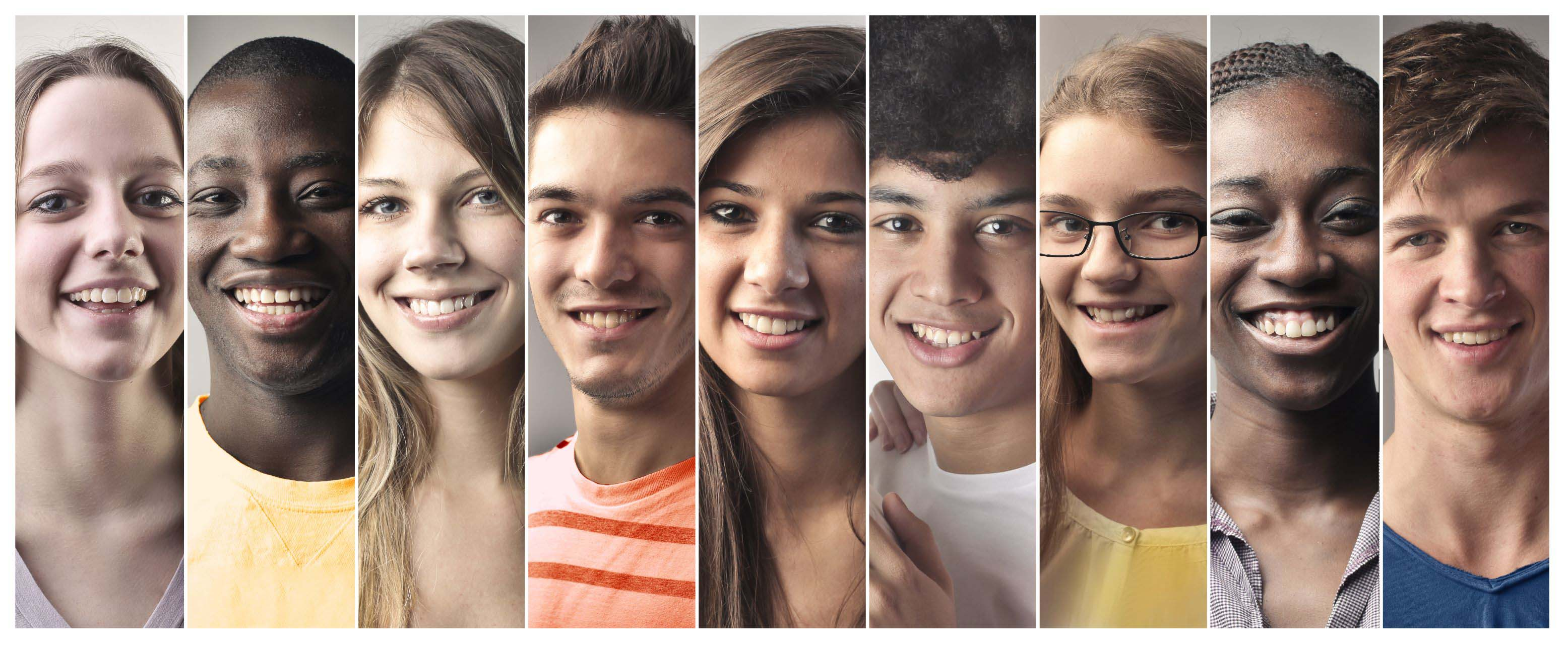 Collage showing 9 young adults of diverse races and genders