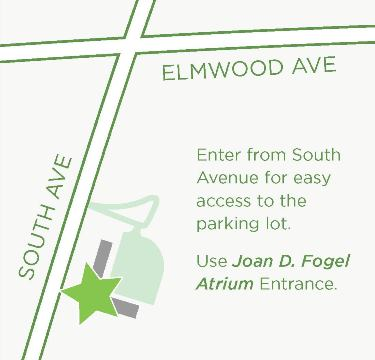 Location map - enter from South Ave for easy access to parking; Use the Joan D. Fogel Atrium Entrance